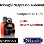 Nespresso-Maschine + 70 Euro Gutschein für 76€!